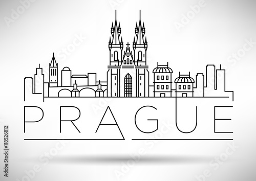 Stampa su Tela Minimal Vector Prague City Linear Skyline with Typographic Desig
