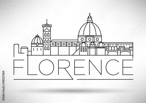 Minimalna wektorowa linia horyzontu Florencji z typograficznym des