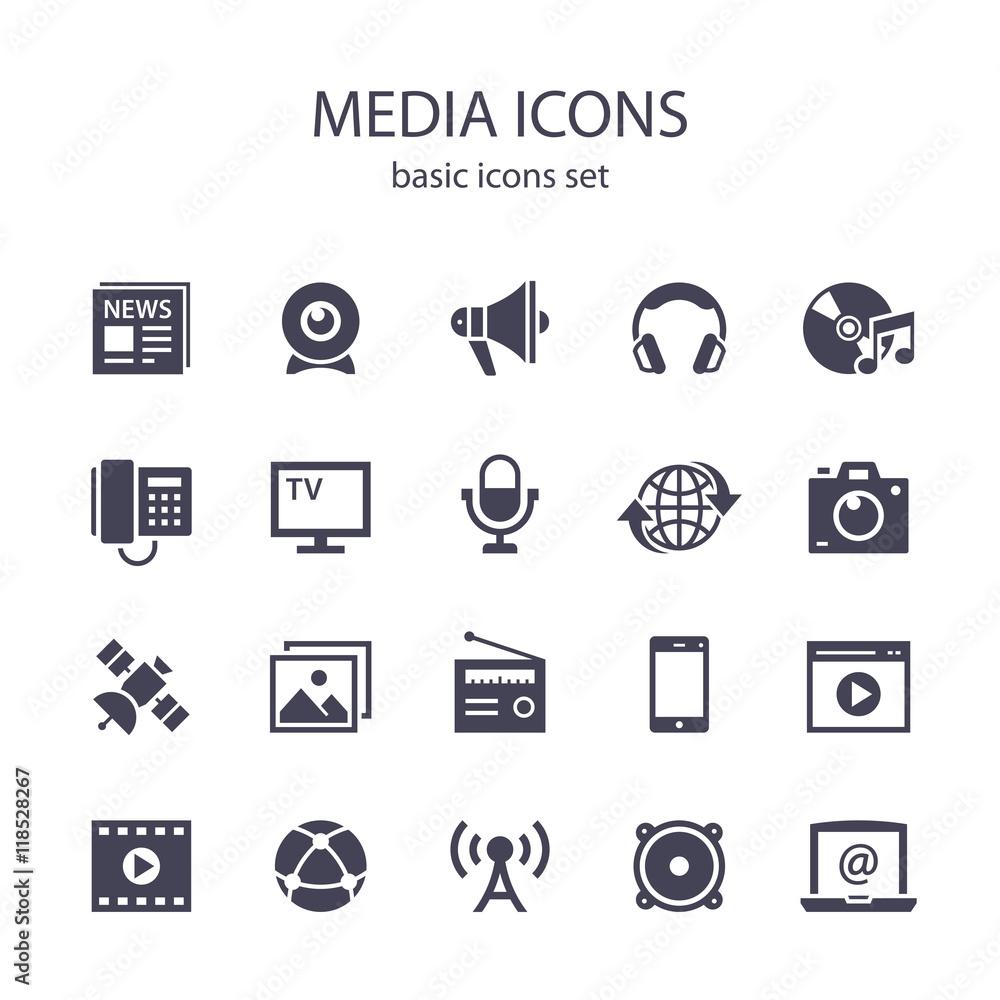 Fototapety, obrazy: Media icons.