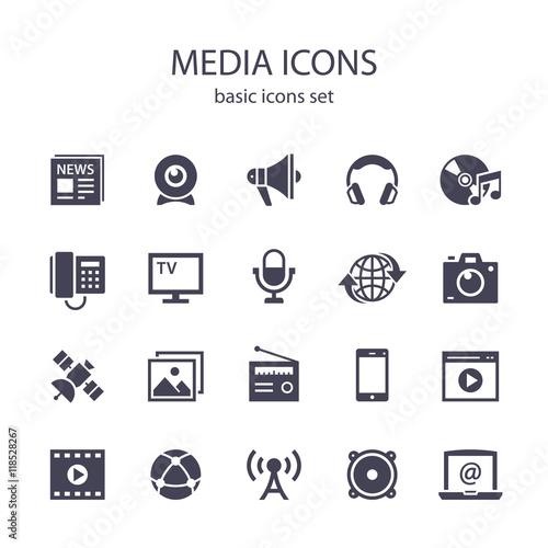 Fotomural  Media icons.