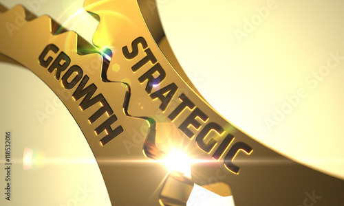 Fotomural  Strategic Growth Concept. Golden Metallic Cogwheels.