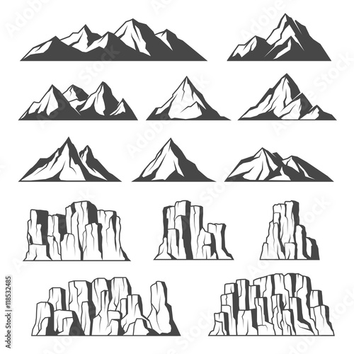 Fotomural Mountains and cliffs icons