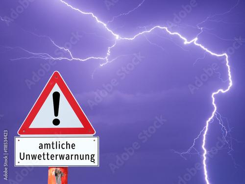 Fotografie, Obraz  Warnschild amtliche Unwetterwarnung