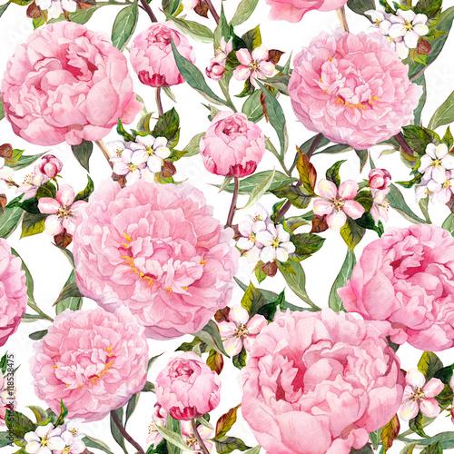 Cotton fabric Peony flowers, sakura. Floral seamless background. Watercolor