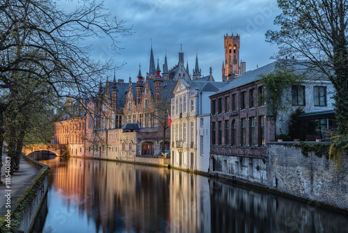 Poster Brugge Brugge the romantic city at evening