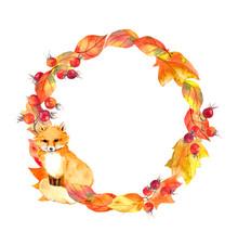 Cute Fox, Leaves, Berries. Autumn Wreath. Watercolor Circle Border