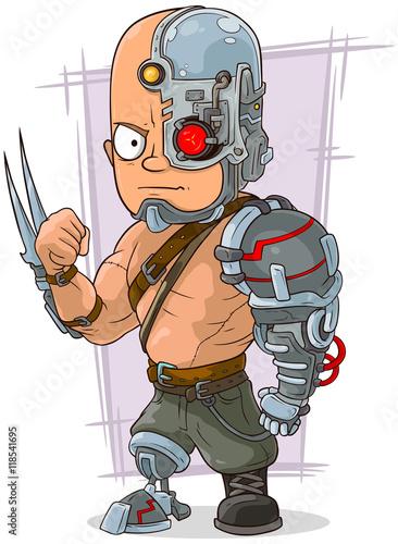 Foto op Plexiglas Wild West Cartoon cyborg with cool metal details