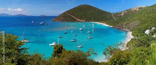 Photo  Tropical shoreline in British Virgin Island (BVI), Caribbean
