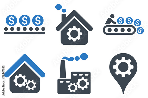 Industrial Production vector icons Wallpaper Mural