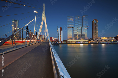 Foto op Canvas Rotterdam Rotterdam. Image of Rotterdam, Netherlands during twilight blue hour.