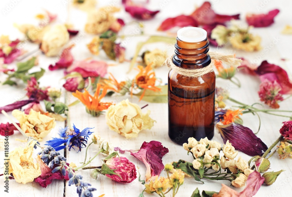 Fototapety, obrazy: Bottle of herbal infused essential oil, amidst different colorful dried medicinal herbs and flowers mix.