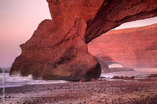 Foto op Aluminium Bordeaux Red arches of Legzira beach