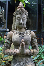 Apsara Statue Extended The Welcome On Garden