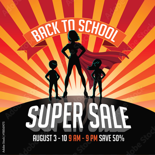 Photo  Back to school super sale super hero burst background