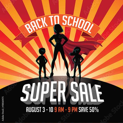 Back to school super sale super hero burst background Poster