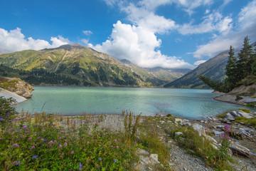 mountain lake, pine trees, Kazakhstan