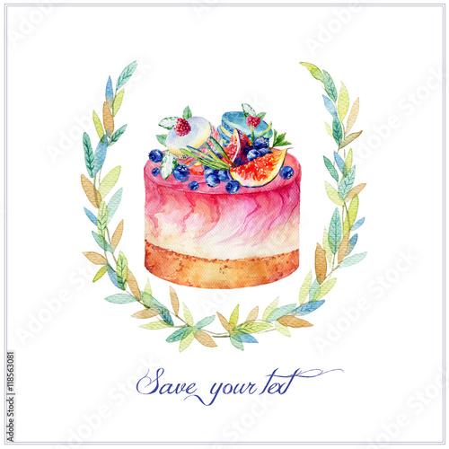 sernik-z-figami-jagodami-i-makaroniki-kolorowa-akwareli-ilustracja-tort