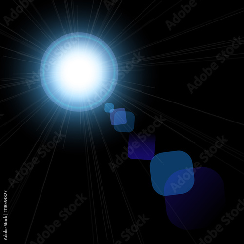 Foto op Plexiglas Stadion Beautiful bright lens flares. Lighting effects of flash. Star with lens flare and bokeh effect