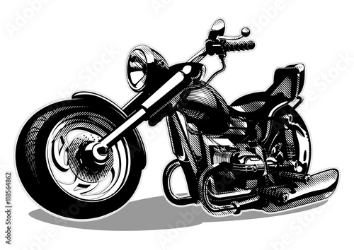Keuken foto achterwand Motorfiets Vector Cartoon Motorbike. Available EPS-8 vector format separated by layers for easy edit