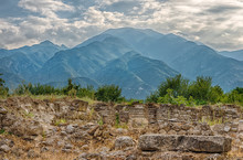 Mount Olympus And Dion, Greece. View Of Mount Olympus And Ancient Ruins Of City Of Dion, Macedonia, Greece.