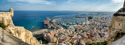 Photo All Alicante in one image with sea, port, city and castle, Spain