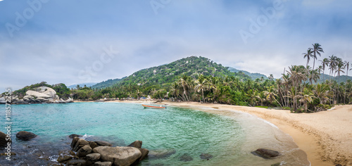 Fotografie, Obraz  Panoramic view of Beach at Cabo San Juan - Tayrona Natural National Park, Colomb