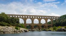 Pont Du Gard Aqueduct Crossing The Gardon River Near Nimes In France.