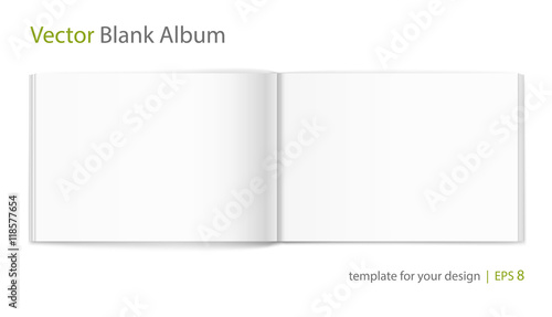 Blank of open album on white background. Template