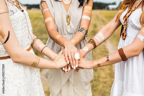 Close-up of female hands, three girls, best friends, flash tattoo, accessories, Canvas Print
