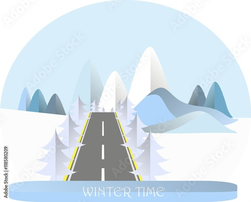 Tuinposter Lichtblauw Series four seasons. Mountain landscape with road in winter time, fir trees. Modern flat design, design element, vector