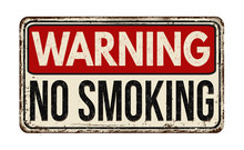 Warning No Smoking Zone Vintage Metal Sign