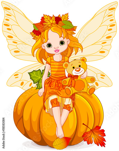 Foto auf Gartenposter Marchenwelt Autumn Little Fairy