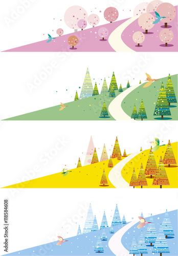 Fotografie, Obraz  四季の丘