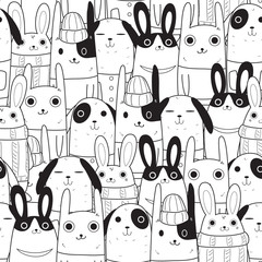 Naklejka rabbit seamless pattern