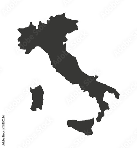 italy map isolated silhouette