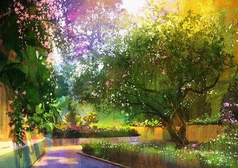 Obraz pathway in a peaceful green park,illustration,landscape painting