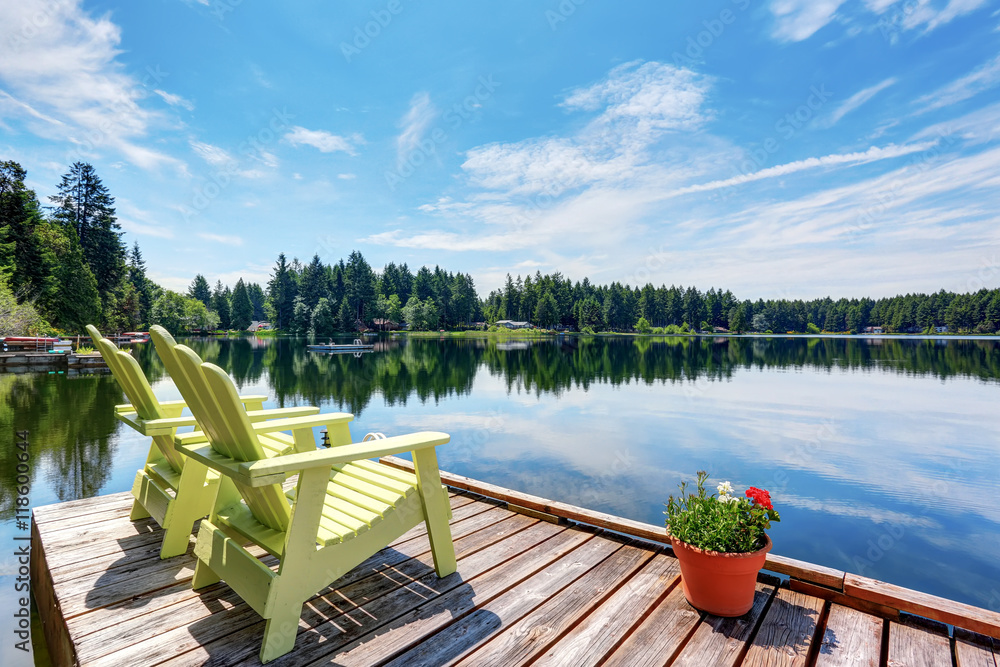 Fototapety, obrazy: Perfect water view pier. Waterfront lake with small pier.