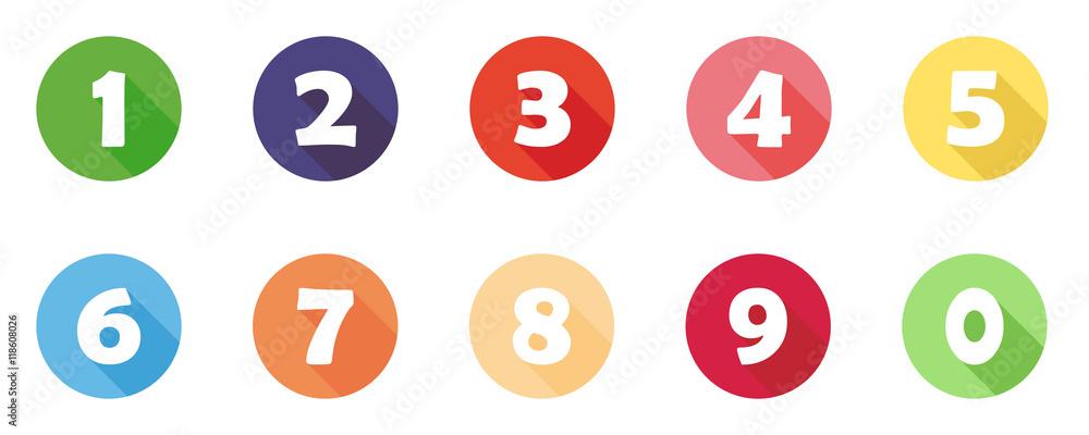 Fototapeta Buntes Icon-Set mit Zahlen (1 bis 10)
