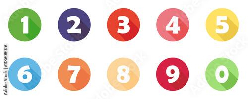 Buntes Icon-Set mit Zahlen (1 bis 10)