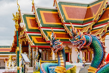 Thai Dragon Or King Of Naga Statue In Phathat Cheung Choom Worav