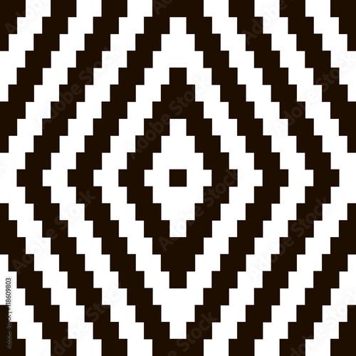 Pixel black and white ornament  Pixel geometric  Vector