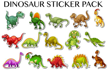 Different kinds of dinosaurs in sticker design