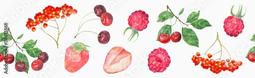 panoramic-view-of-garden-red-berries-cherry-strawberry-raspberry-rowan-on-white-background-wide-seamless-pattern-watercolor-painting-realistic-illustration-vintage-style