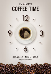 Fototapeta Kawa happy time. coffee cup and coffee bean on vintage paper background. over light