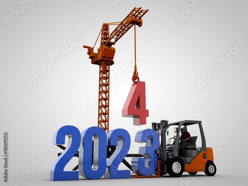 Fotografia  3D illustration of 2024 text with forklift and crane