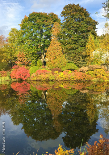 Foto op Canvas Bomen Beautiful lake and colourful trees of New England at foliage sea