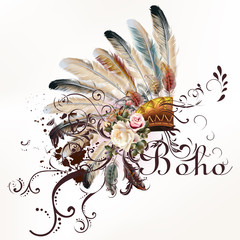 Fototapeta Boho Vector tribal design in boho style. Headdress with feathers