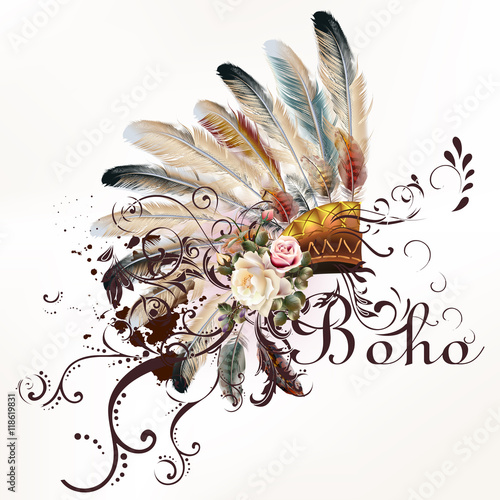 Fotobehang Boho Stijl Vector tribal design in boho style. Headdress with feathers