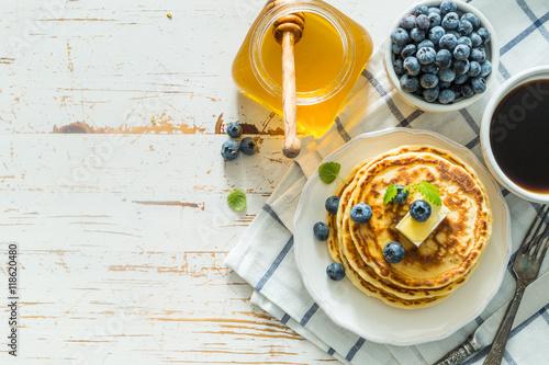 Fotografie, Obraz  Breakfast - pancakes with blueberries