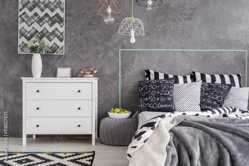 Fototapeta Modern bedroom with pattern details obraz